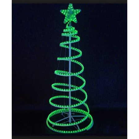 6' Green LED Lighted Outdoor Spiral Rope Light Christmas Tree Yard Art  Decoration - 6' Green LED Lighted Outdoor Spiral Rope Light Christmas Tree Yard