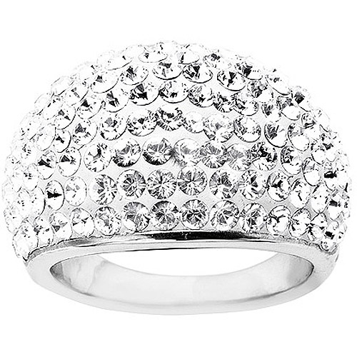 Crystaluxe Dome Ring with Swarovski Crystals in Sterling Silver
