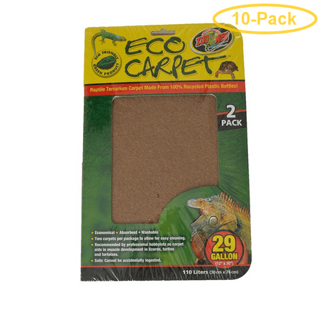 Zoo Med Cage Carpet - Zoo Med Reptile Cage Carpet 29 Gallon Tanks - 30 Long x 12 Wide (2 Pack) - Pack of 10