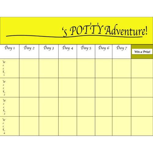 Potty Training Chart & Training Certificate, Yellow, 2 Sheets, 2 ...