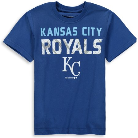 MLB Kansas City ROYALS TEE Short Sleeve Boys Team Name and LOGO 100% Cotton Team Color 4-18