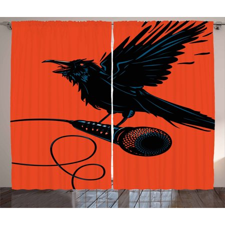 Indie Curtains 2 Panels Set, Raven is Holding a Microphone Rock Music Theme Festival Party Gothic Singer, Window Drapes for Living Room Bedroom, 108W X 96L Inches, Orange Black Blue, by Ambesonne