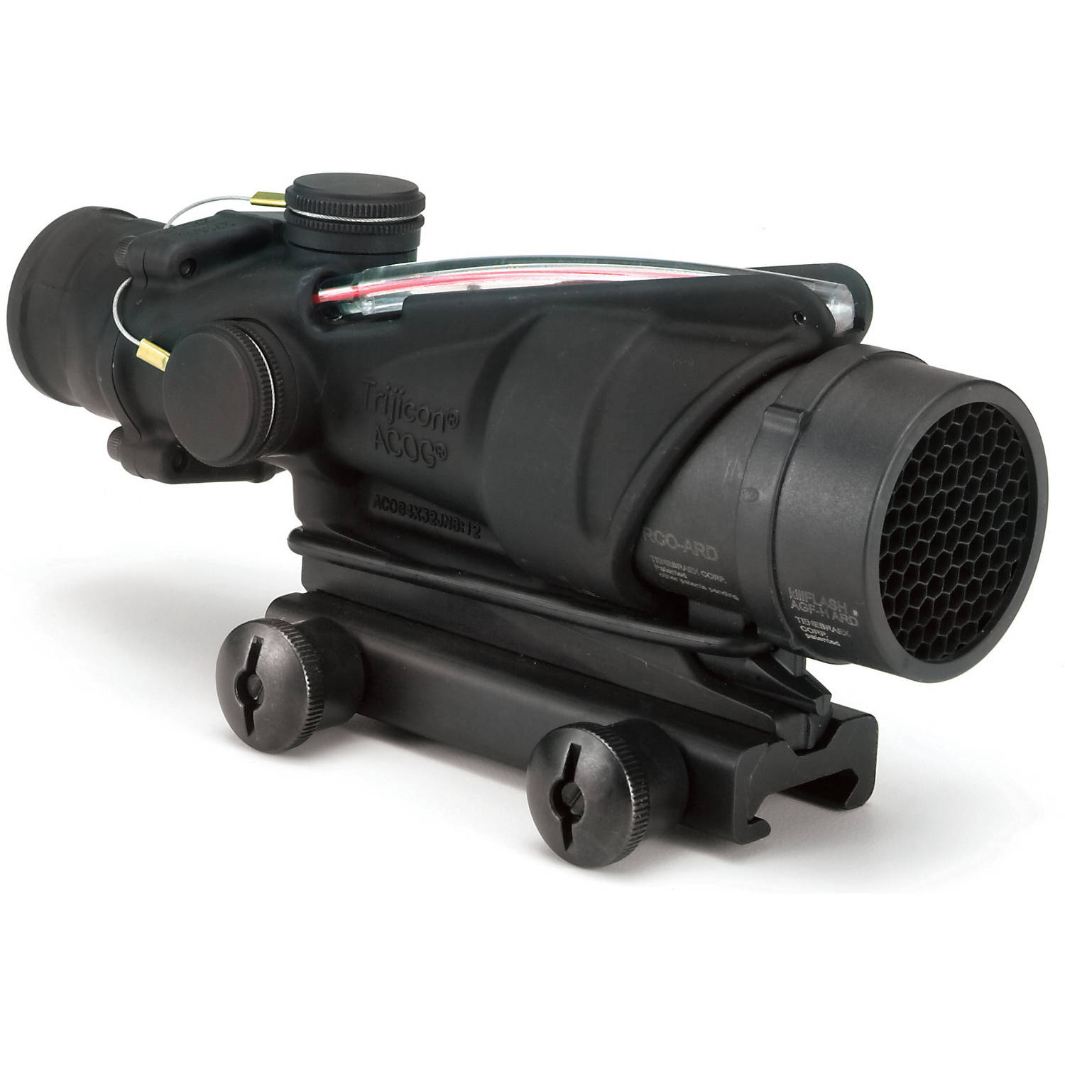 Trijicon ACOG Rifle Scope, 4X 32, Red Chevron Reticle BAC-M16A4, Matte