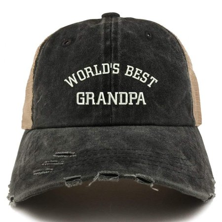 Trendy Apparel Shop World's Best Grandpa Embroidered Frayed Bill Trucker Mesh Back (Best Light Bill Payment)