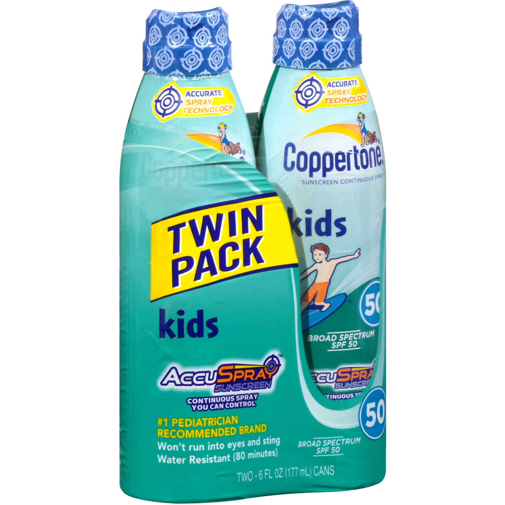Coppertone Kids Continuous Spray Sunscreen, SPF 50, 6 fl oz, (Pack of 2)