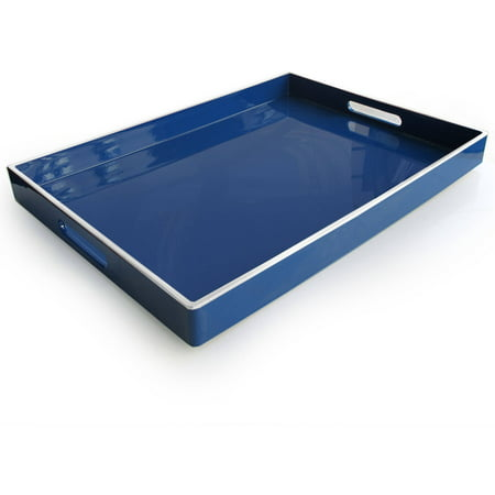 Image of Blue with White Lines Rectangular Tray
