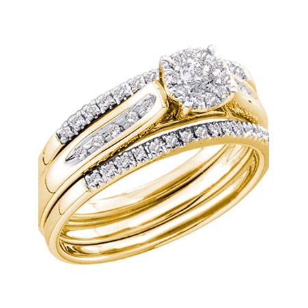 14kt Yellow Gold Womens Round Diamond 3-Piece Bridal Wedding Engagement Ring Band Set 1/4 Cttw (Gold Band Diamond Engagement Ring)