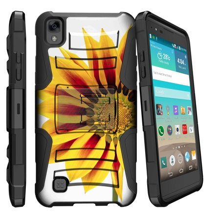Case for LG X Power | LG K6P [ Clip Armor Series ] Holster & Belt Clip Dual-layer Combo w/ Built-in Kickstand - Yellow Sunflower