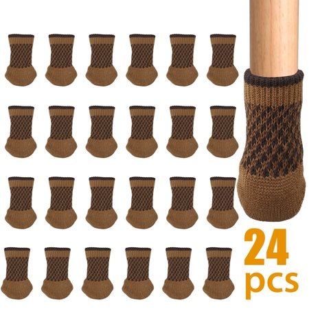 Round Rubber Feet - TSV 24 Chair Leg Socks, Knitted Elastic Non-Slip Rubber Strips Furniture Socks Covers Set Chair Leg Floor Protectors, Fit Square & Round Furniture Feet Girth from 1.5'' to 2.2''