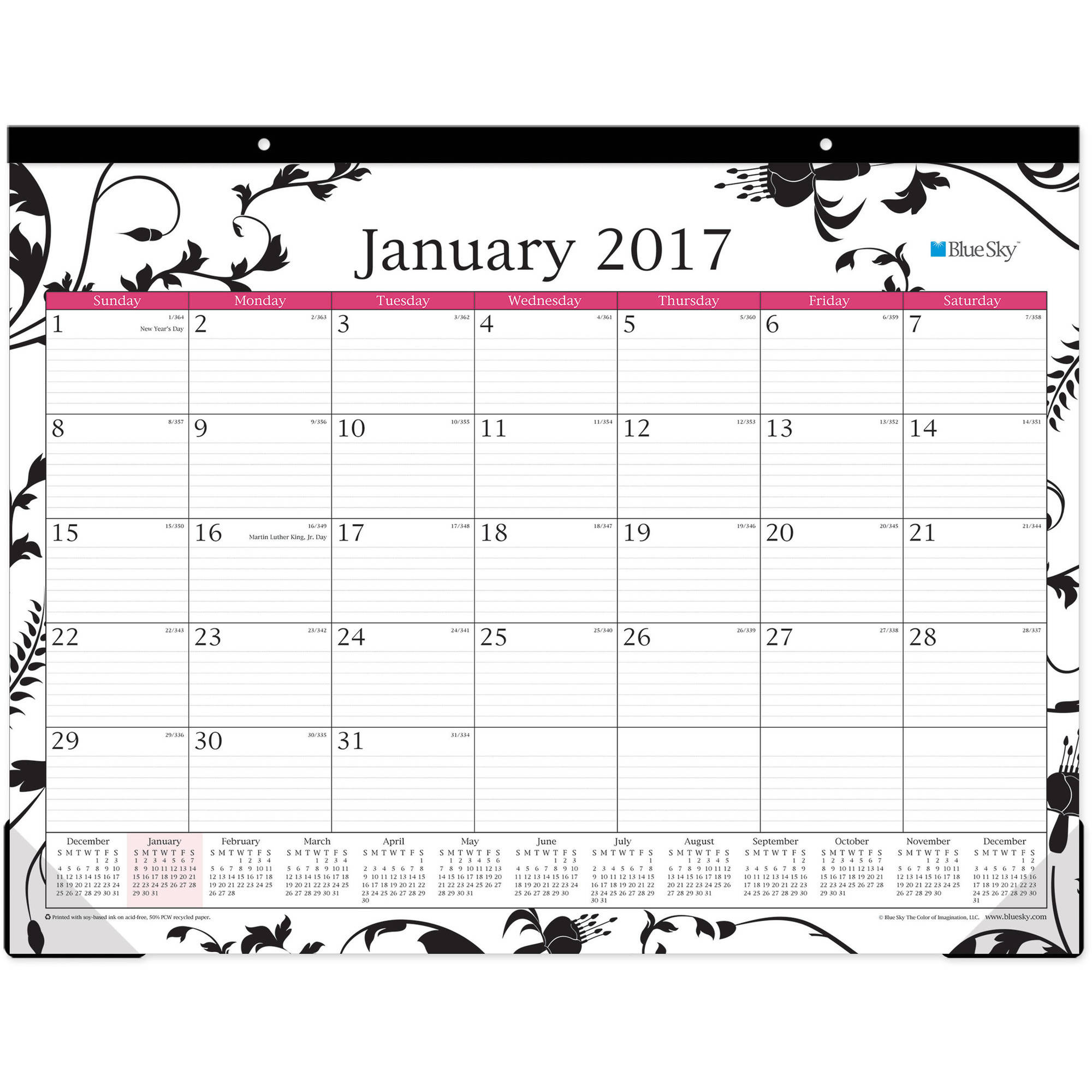 "Blue Sky Analeis 22"" x 17"" Monthly Desk Pad Calendar, 2017"