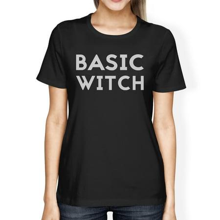 Basic Witch Womens Cute Halloween Costume T-Shirt Black Round Neck