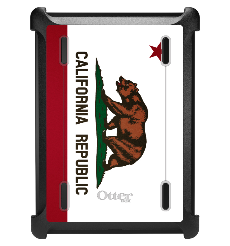 CUSTOM Black OtterBox Defender Series Case for Apple iPad Air 1 (2013 Model) - California State Flag