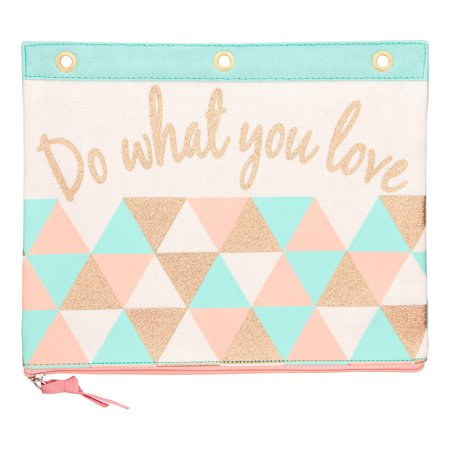 canvas print binder pouch with motivational do what you love