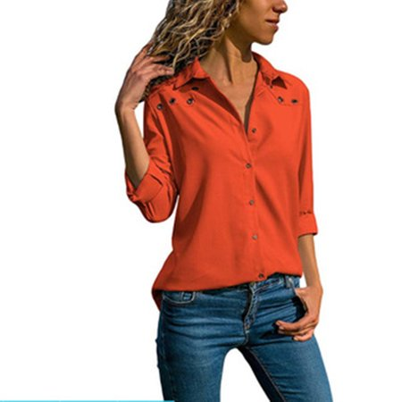 409ad4e0 Fresh look - Women's Chiffon Long Sleeves V Neck Button Down Shirts Blouses  Tops - Walmart.com