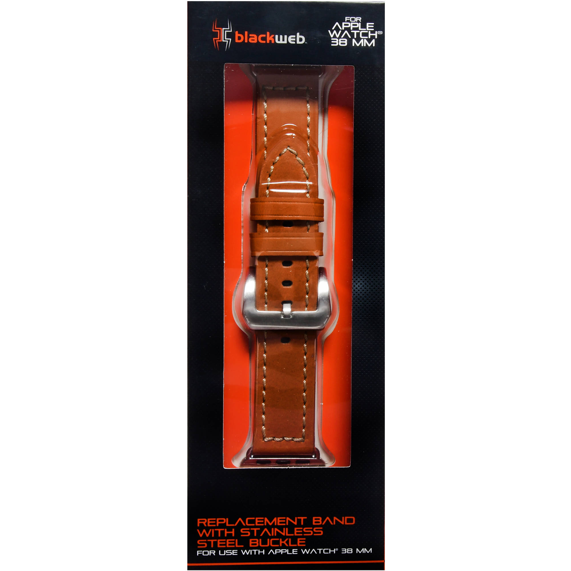 Blackweb Apple Watch Replacement Leather Band, Brown, For 38 Mm Apple Watch