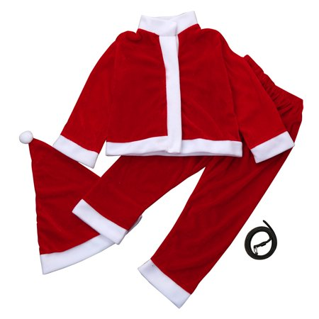 DZT1968 Toddler Kids Baby Boys Christmas Party Clothes Costume T-shirt+Pants+Hat Outfit