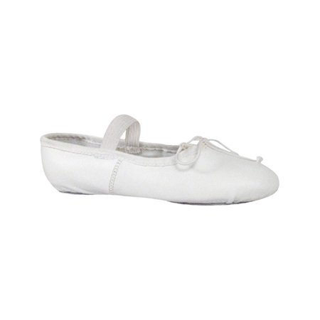 Girls White Leather Suede Outsole Strap Ballet Shoes 12.5-4 Kids