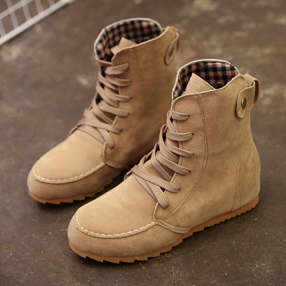 DZT1968® Women Flat Ankle Snow Motorcycle Boots Female Suede Leather Lace-Up Boot KH/38