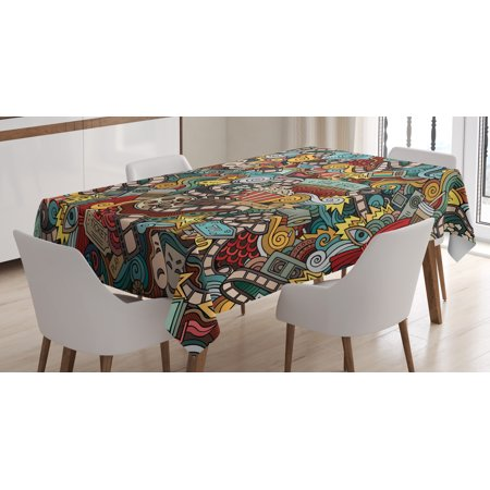 End Table Covers (Doodle Tablecloth, Cinema Items Combined in an Abstract Style Popcorn Movie Reel The End Theatre Masks, Rectangular Table Cover for Dining Room Kitchen, 60 X 90 Inches, Multicolor, by)