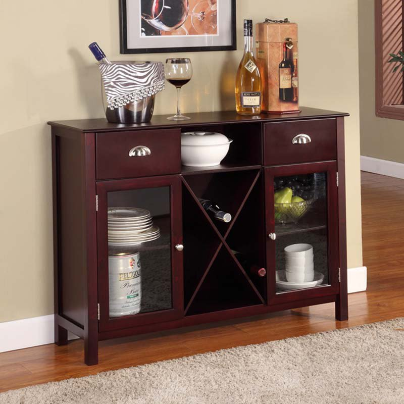 Buffet Server Wine Rack Cherry by K and B Furniture Co Inc