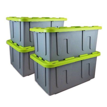 Durabilt 27 Gal. Plastic Storage Tote, Gray/Lime (Set of 4) (Plastic Tote With Handle)