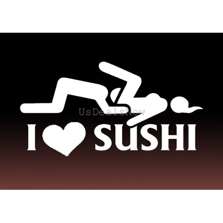 (2) I Love Sushi Funny JDM Vinyl Decal Car Window Stickers