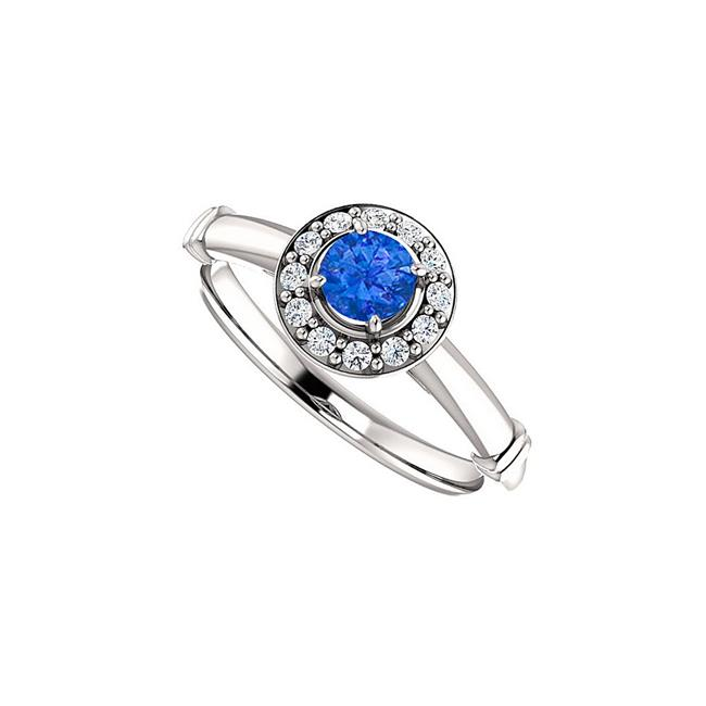 0.75 CT 14K Rose Gold Brilliant Cut Sapphire & Cubic Zirconia Halo Ring, Size 6 - image 1 de 1
