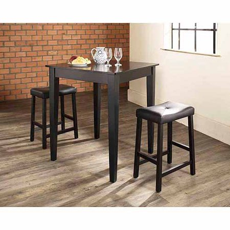 Crosley Furniture 3-Piece Pub Dining Set with Tapered Leg and Upholstered Saddle -