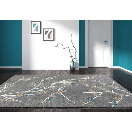 Persian Rugs 6055 Trigri-Grey Floral Branches Contemporary Area Rug Tabriz 10x13 Persian Rug