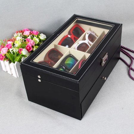 Double Sunglass Storage Box Glasses Eyeglass Display Case Oversized Wood PU 6/12 (Quick Pick Double Hopper Bin)