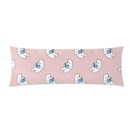 ABPHOTO Polar Bear Body Pillow Covers Pillowcase Throw Pillows 20x60 inch ()