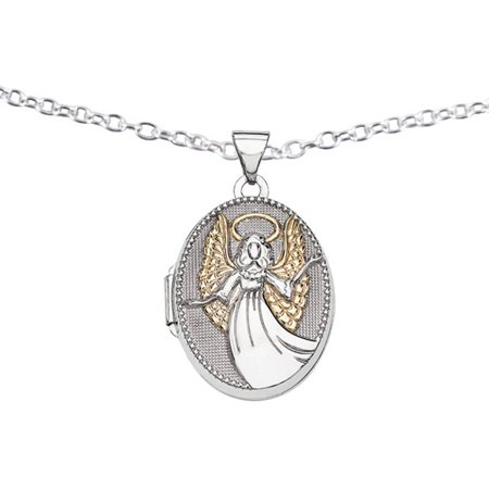 Sterling Silver with Gold-Plate 21mm Oval Guardian Angel Locket (Angel Locket)