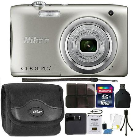 Nikon COOLPIX A100 20.1MP f/3.7-6.4 Max Aperture Compact Point and Shoot Digital Camera Accessory Bundle