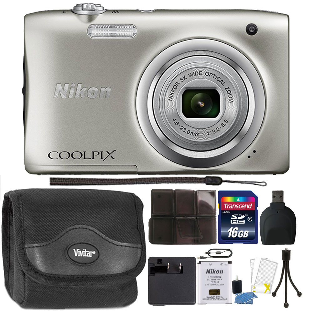Nikon COOLPIX A100 20.1MP f/3.7-6.4 Max Aperture Compact Point and Shoot Digital Camera Accessory Bundle Silver