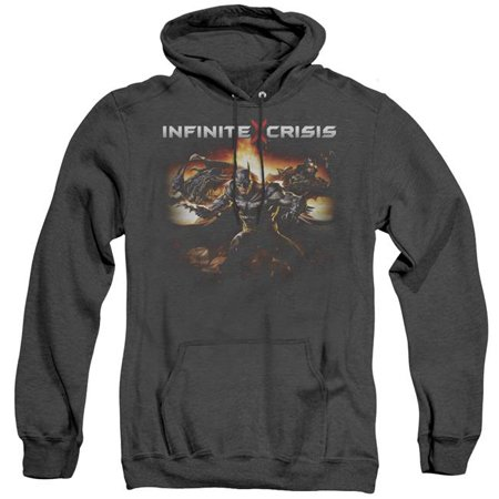 Trevco Sportswear INCR111-AHH-4 Infinite Crisis & Batmen Adult Heather Pull-Over Hoodie,  Black - Extra Large
