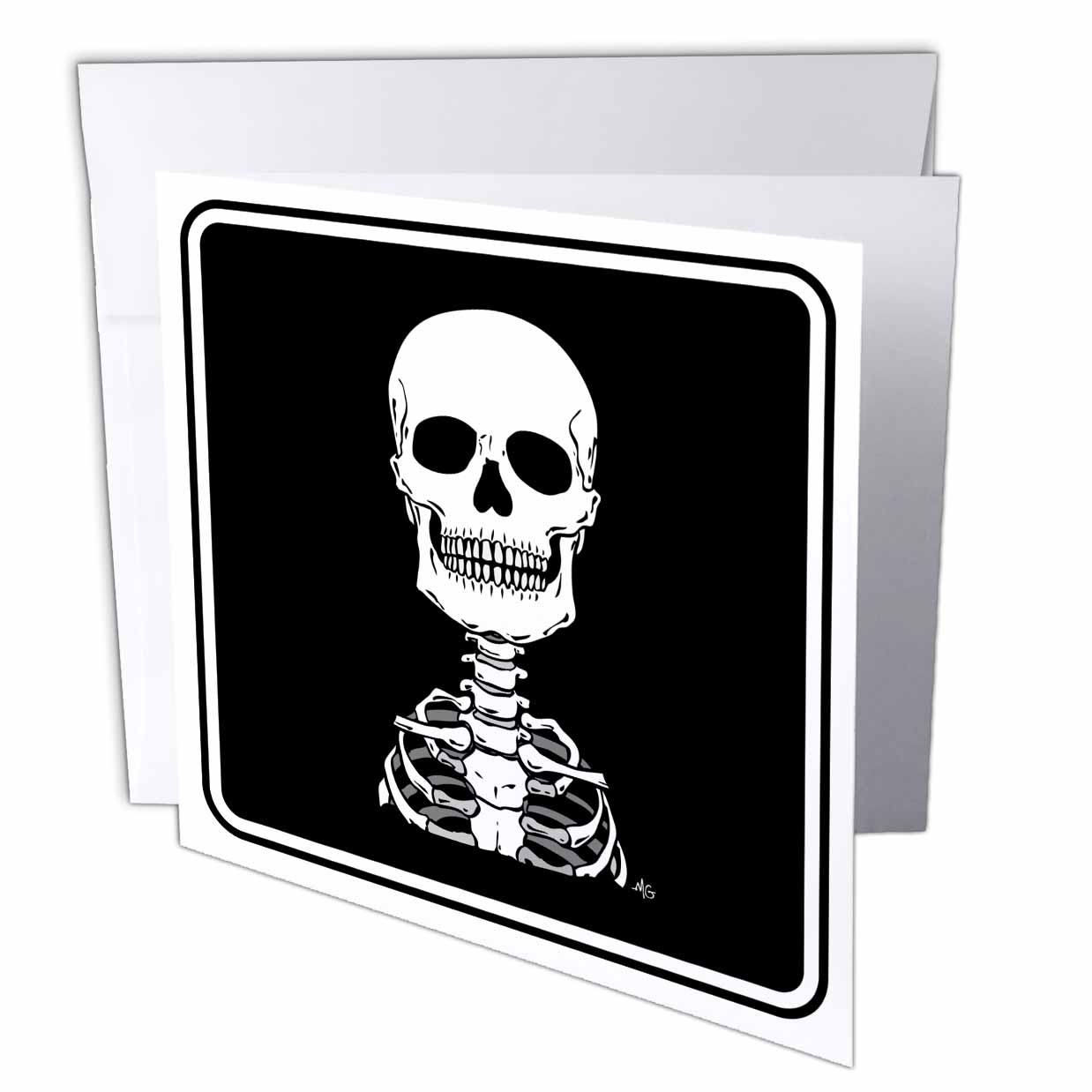3dRose SKELETONS skull 2 black sign 1, Greeting Cards, 6 x 6 inches, set of 6