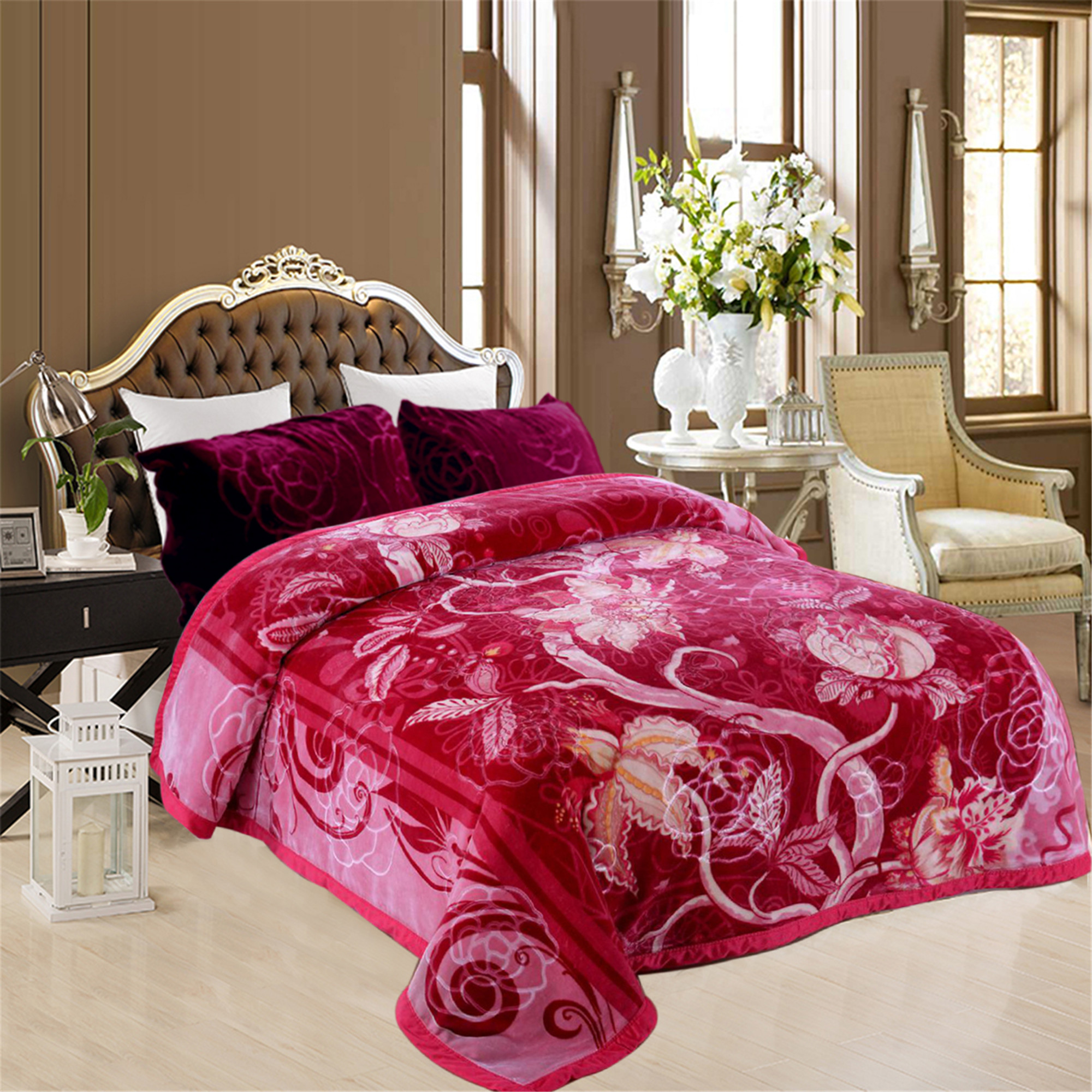 "Super Soft Plush Mink Bed Blanket 2 Ply Printed Fleece Blanket Queen 76""x85"""
