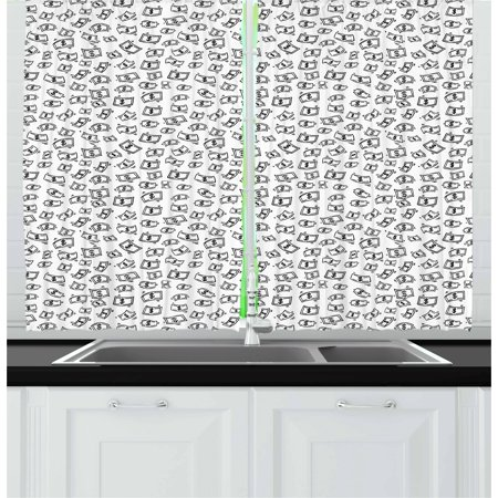 Money Curtains 2 Panels Set, Sketch Style Monochrome Raining Dollar Bills Cash Money Flying Bank Notes Design, Window Drapes for Living Room Bedroom, 55W X 39L Inches, Black White, by Ambesonne ()