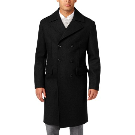 MICHAEL Michael Kors Mens Wool Double Breasted Pea Coat Black (Michael Michael Kors Double Breasted Trench Coat)