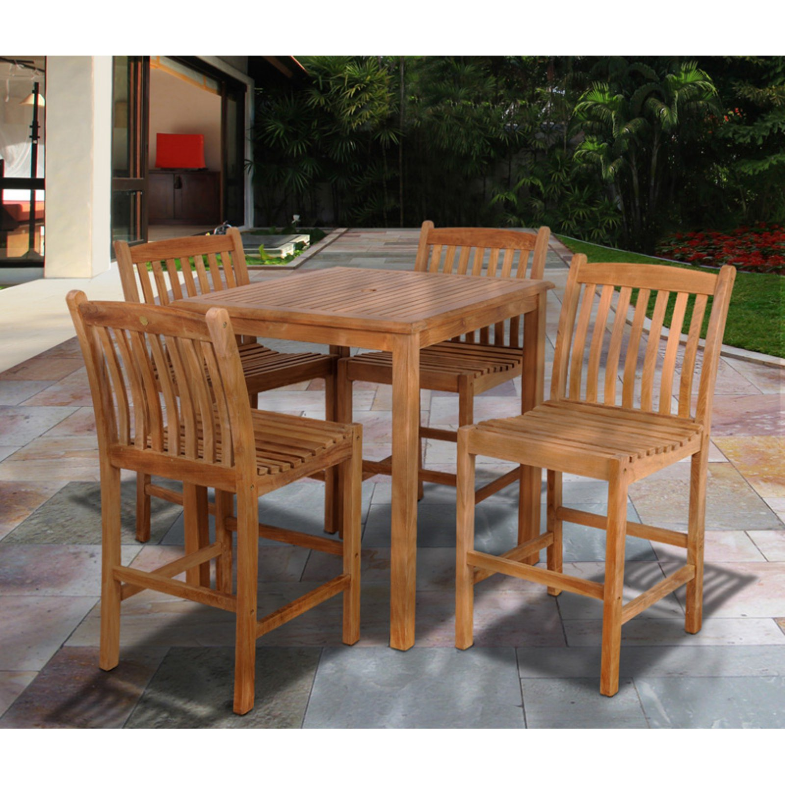 Amazonia Aberdeen 5 Piece Teak Square Patio Bar Height Dining Set