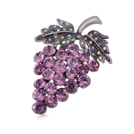 Amethyst Genuine Crystal Rhinestone Grape Cluster Fruit Fashion Jewel Pin Brooch