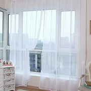 Voile Curtains, Solid Sheer Curtain Scarf Drapes Rod Pocket Crushed Window Panels for Bedroom Living Room Kitchen