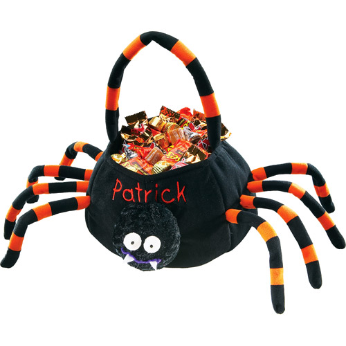 Personalized Plush Halloween Trick or Treat Bag, Spider