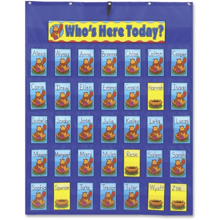 Carson-Dellosa Publishing Attendance/Multiuse Pocket Chart, 35 Pockets/Two-Sided Cards, Blue, 30 x 37 1/2