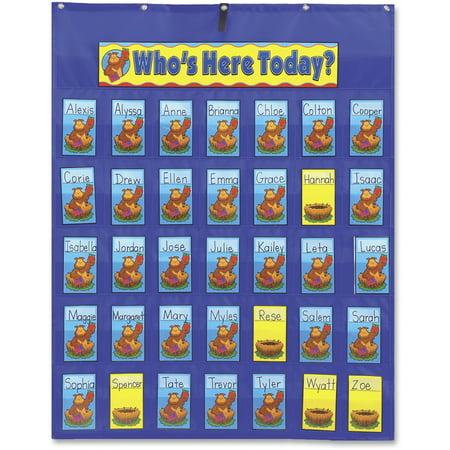 Carson-Dellosa Publishing Attendance/Multiuse Pocket Chart, 35 Pockets/Two-Sided Cards, Blue, 30 x 37 1/2 - Sunday School Attendance Chart