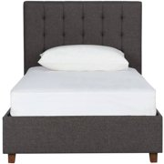 dhp emily upholstered linen platform bed with wooden slat support tufted headboard multiple sizes - Black Tufted Bed