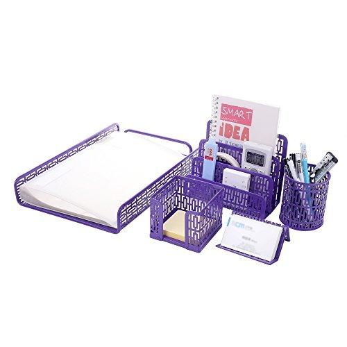 Metal Mesh Office Supplies Desktop Organizer Purple Set of 5pcs