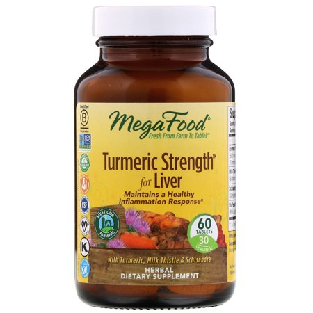 MegaFood, Turmeric Strength for Liver, Maintains a Healthy Inflammation Response, Vitamin and Herbal Dietary Supplement, Gluten Free, Vegan, 60 tablets (30 servings)