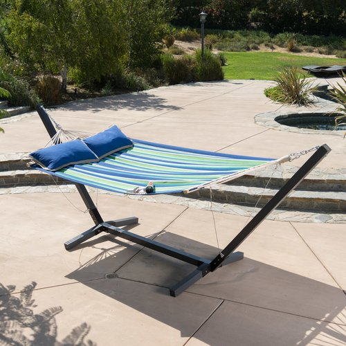 Breakwater Bay Danby Striped Outdoor Hammock with Wood Stand