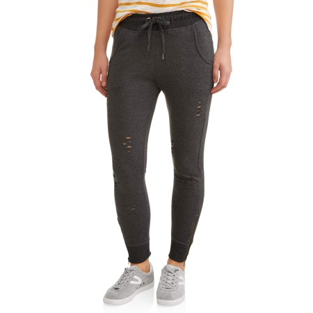 New York Laundry Athleisure Womens Distressed Pant Jogger With Zipper (Sizes S-3X Available) (Joggers Pants Size Small)
